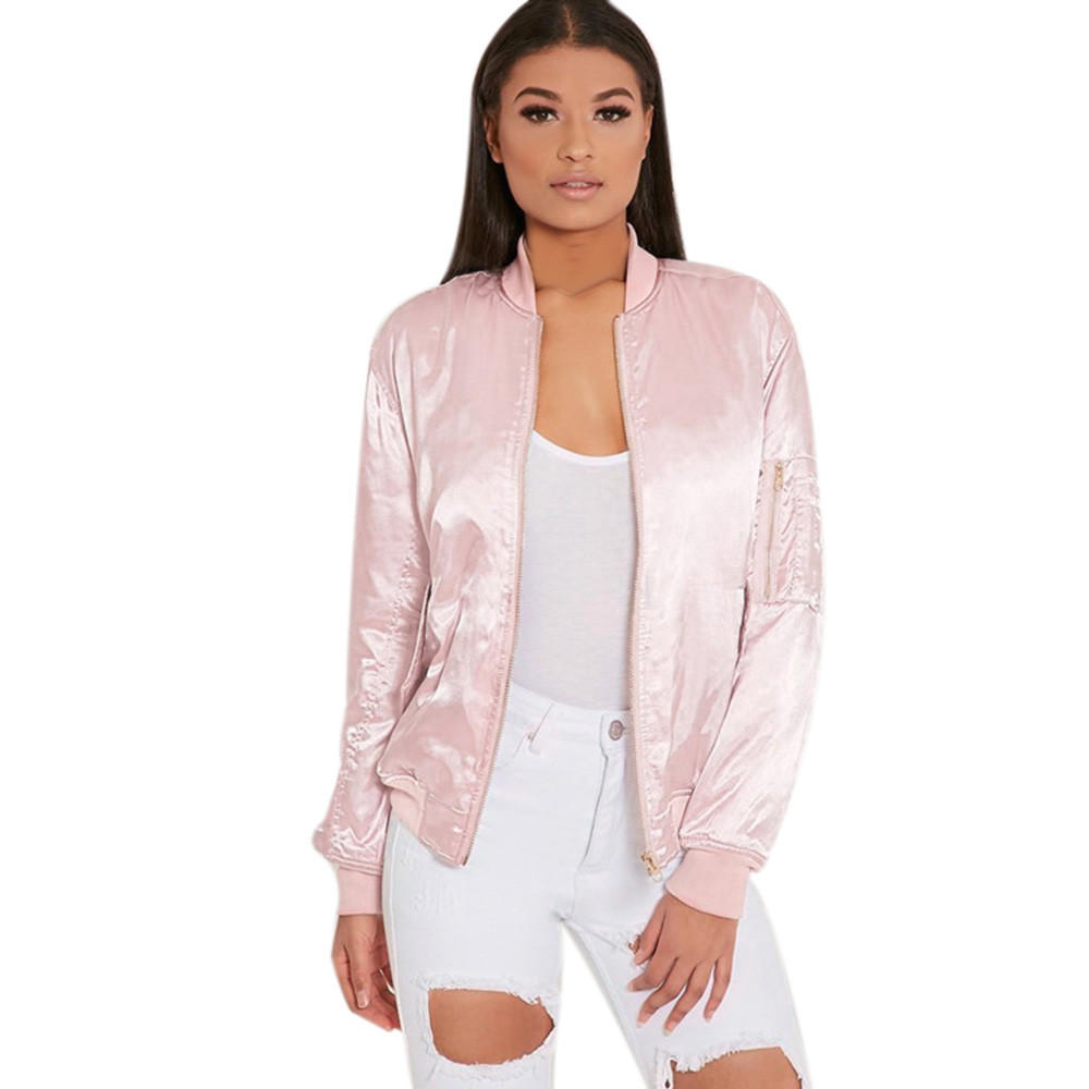 53a480375 Autumn Winter Ladies Bomber Jackets Fashion and Retro Baseball coat for  women Students Pink Solid Color Feminina Basic Outwear