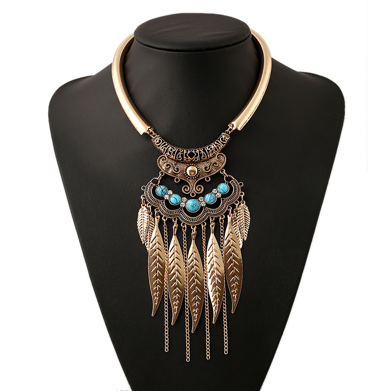 New Fashion Bohemian Gypsy Ethnic Choker Collar Vintage Maxi Statement Necklaces & Pendants Beads Leaf Tassel Fine Jewelry XL485
