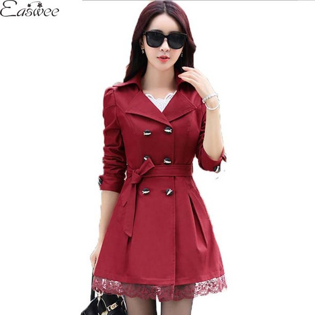 1PC 2016 Trench Coat For Women Spring Coat Double Breasted Lace Casaco Feminino Autumn Outerwear Abrigos Mujer ZZ3395