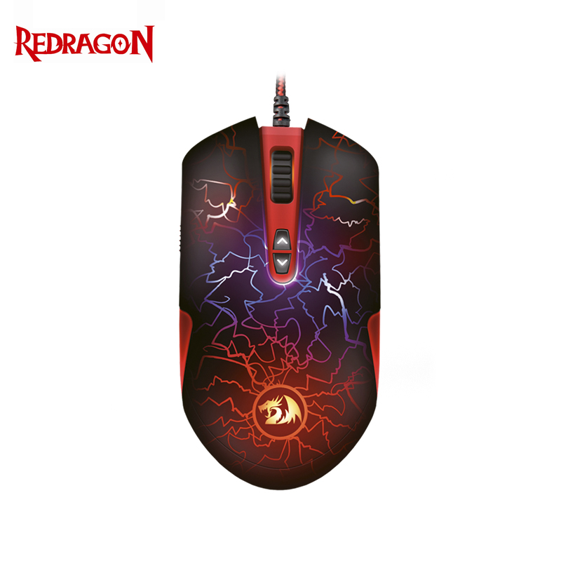 Gaming mouse Redragon LavaWolf Officeacc qisan x5 6 button 800 1600 2000dpi usb wired gaming mouse w 7 led backlight black