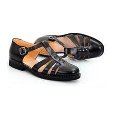 Summer men's leather sandals handmade leather soft bottom middle-aged men Business