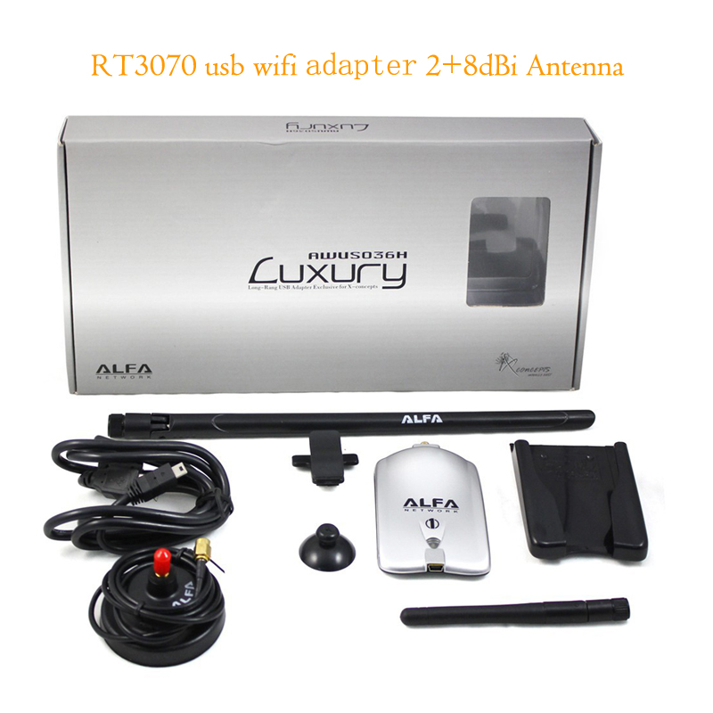 KuWFi Alfa AWUS036NH Wireless USB Wifi Adapter 150Mbps RT3070L High Power Alfa Luxury USB Wifi Adapter With 8dBi+2dBi Antennas rt3070l module 6649e power amplifier 3070 usb wireless network card to support large flat antenna radar linux