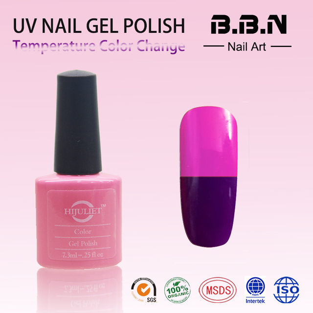 Hijuliet No Smell Non Toxic Led Uv Color Changing Nail Gel Polish Temperature Change