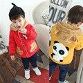 Мультфильм Панда Украшения Зимняя Куртка для Детей, Красный Синий Желтый Теплый Пальто С Капюшоном Верхняя Одежда для Детей Детская Зимняя Одежда Мальчиков пальто