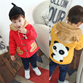 Cartoon Panda Decoration Winter Jacket Kids,Red Blue Yellow Warm Coat Hooded Outerwear for Child Baby Winter Clothing Boys Coats