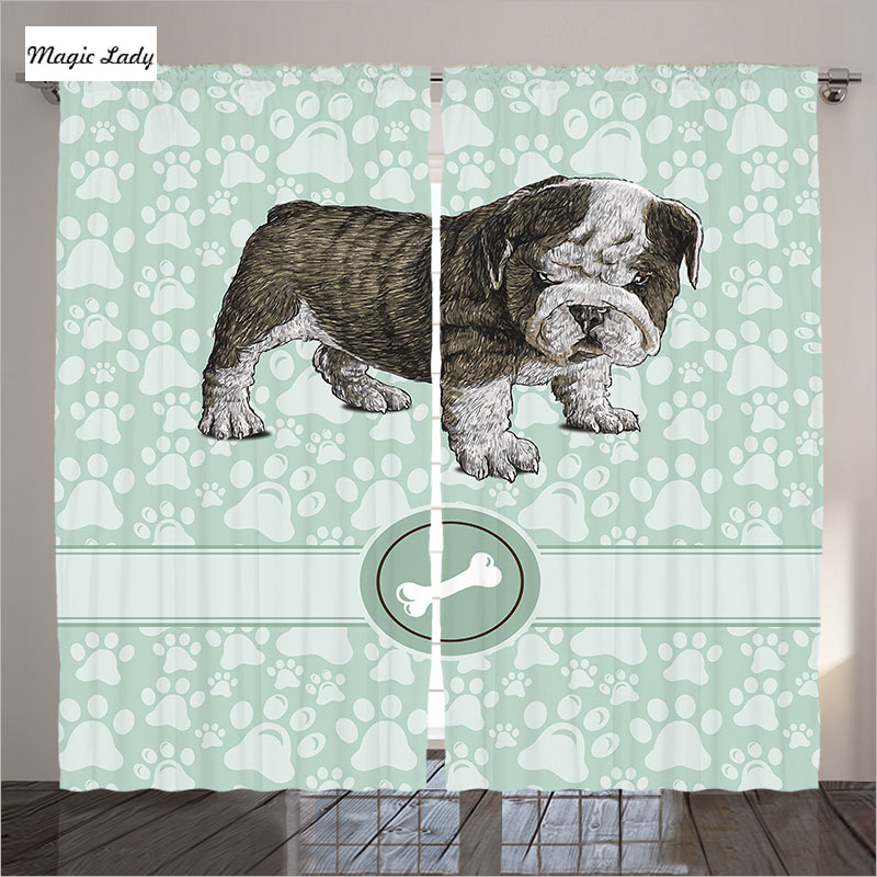 Curtains for bedroom living room dog pet animal bone baby - Baby blue living room decor ...