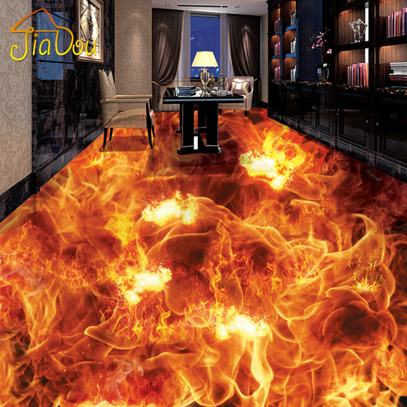 Custom Photo Wall Paper 3d Stereoscopic Flame Bathroom