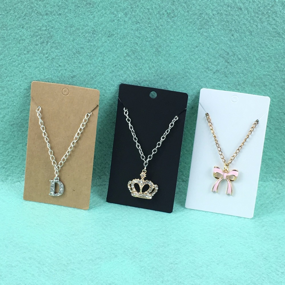 New Hot 100pcs 9*5cm Kraft Paper Blank Necklace&Earring Cards Jewelry Ornament Display Card Case DIY HandMade Accept Custom Logo