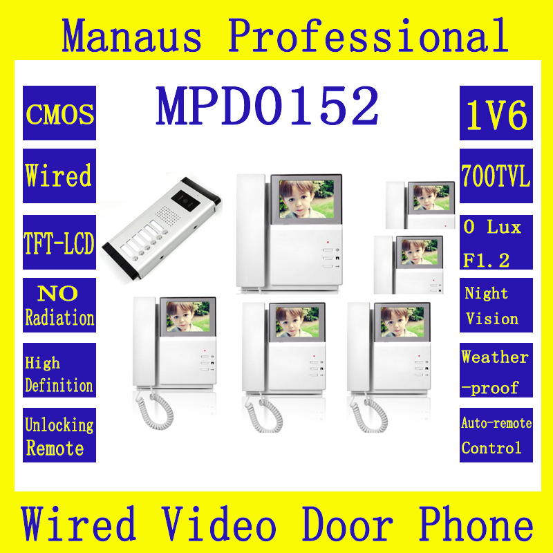 One to Six Video Door Phone Access Control System,4.3 inch Color TFT LCD Wired Monitor Apartment Video Intercom Doorbells D152b 7 inch video doorbell tft lcd hd screen wired video doorphone for villa one monitor with one metal outdoor unit night vision