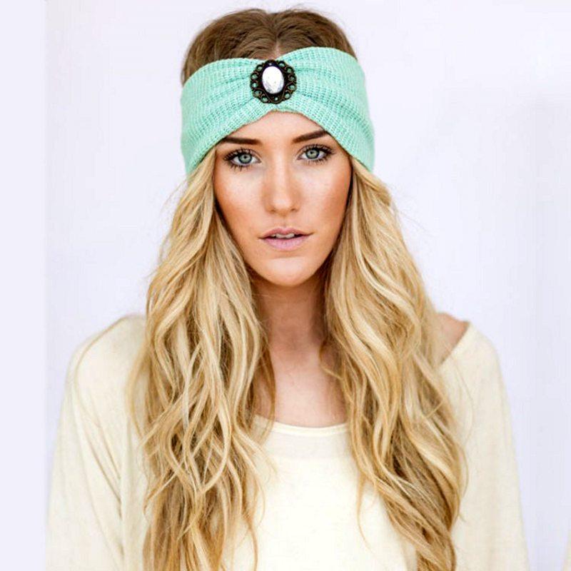 百思买 ) }}New Lady Fashion Knitting Wool Women Cozy Elasticity Beaded Headband Earmuffs Warm Winter Headband