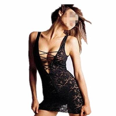 Wholesale Black Women's Sexy Lace Babydoll Dress Underwear Nightwear Sleepwear G-string M3008