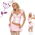 Fancy cartoon halloween animal costume performance wear sexy pink rabbit costume for women adult costume