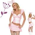 Fancy cartoon halloween animal costume performance wear sexy pink rabbit costume for women adult costume