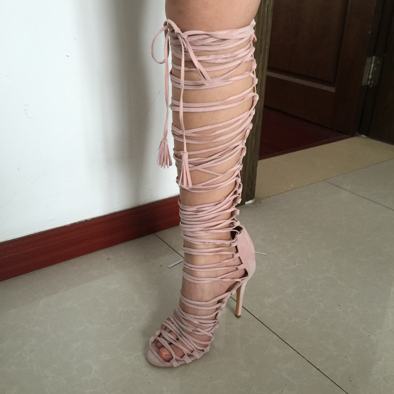 Aliexpress.com : Buy Pink Gladiator Sandals Women Knee High Shoes ...