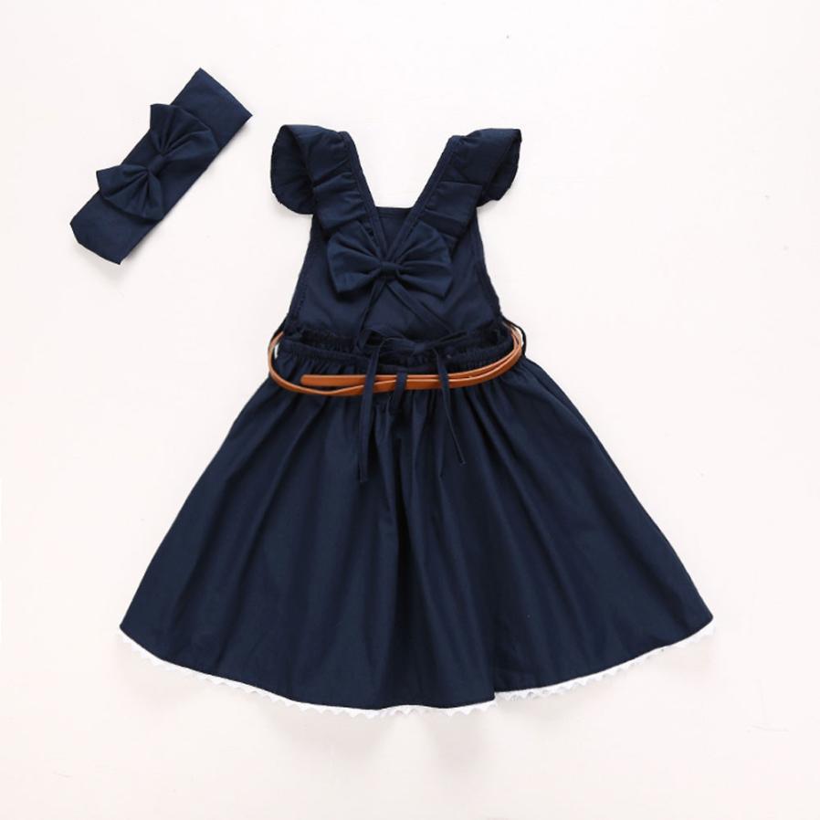 c7081b388df2e4 2 6 jaar Zomer Groen + Navy Mooie Meisjes Peuter Kid Baby Girl Outfit  Kleding Strik Prinses Jurken + riem + Hoofdband 1 set in 2-6 jaar Zomer  Groen + Navy ...