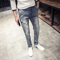 Spring Korean version of the retro men's trousers tide fat big yards jeans Japanese Slim pants feet hole tide