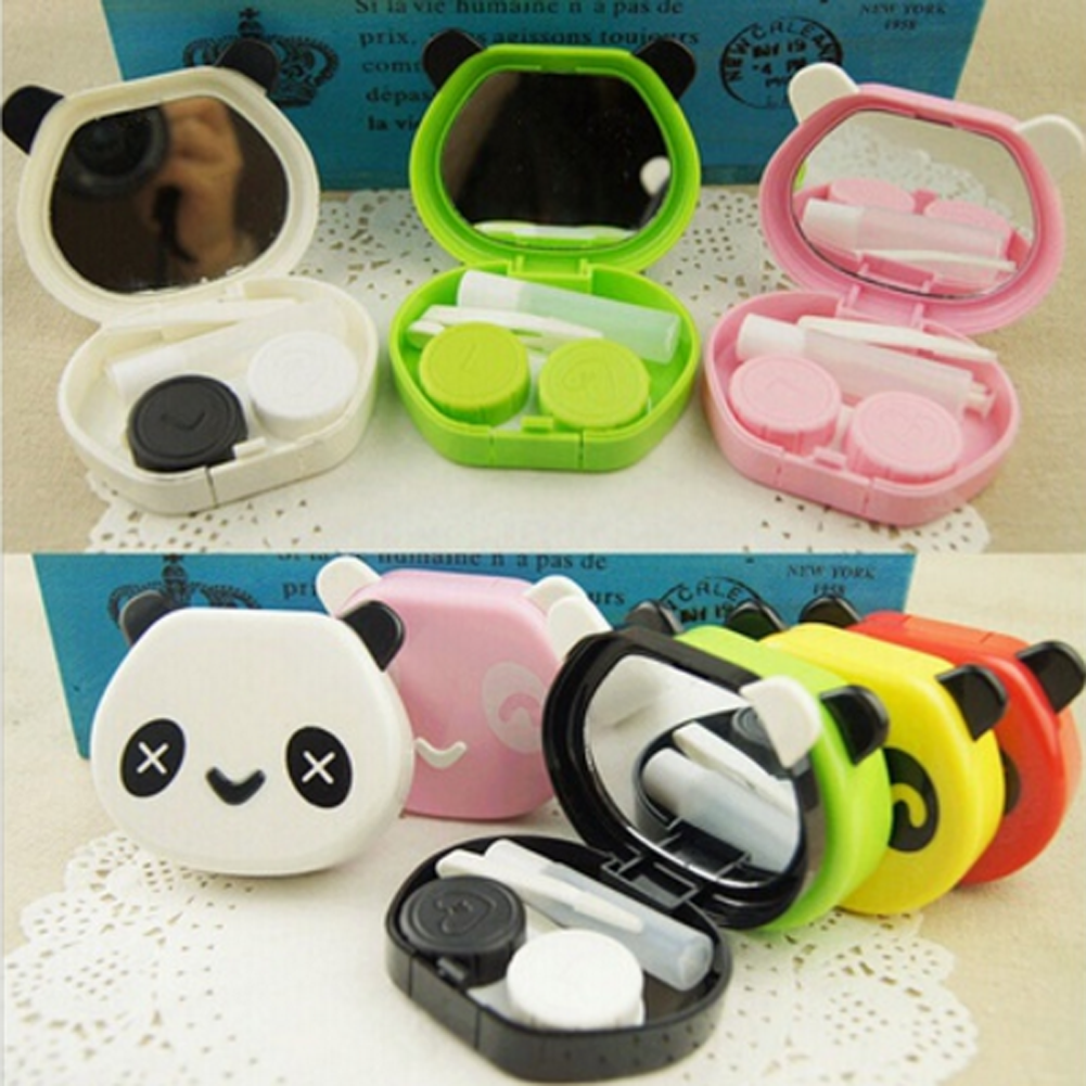 1Pcs Color Random Panda contact lenses box for women plastic eyewear case container cute contact lens case