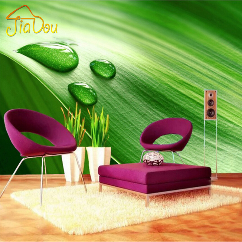Custom Wall Mural Wallpaper 3D Green Leaf Water Drops Bedroom Living Room Sofa Backdrop Wall Painting Wall Papers Home Decor free shipping personalized custom 3d fresh bamboo living room sofa backdrop wall large mural waterproof wallpaper