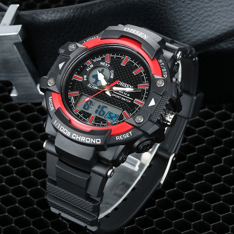 Ohsen merk mannen militaire leger horloge dual-tijdzone quartz - Herenhorloges - Foto 3