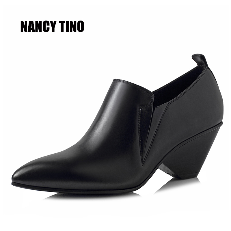 NANCY TINO 2017 New Fashion For All Season Ankle Short Boots For Women Medium Heel 100% Genuine Leather Woman Made by Hand Shoes tino sehgal