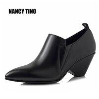 NANCY TINO 2017 New Fashion Spring Autumn Ankle Short Boots For Women Medium Heel 100 Genuine