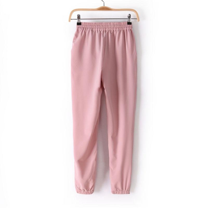 Chiffon Elastic Waist Solid Color Office Pants 9