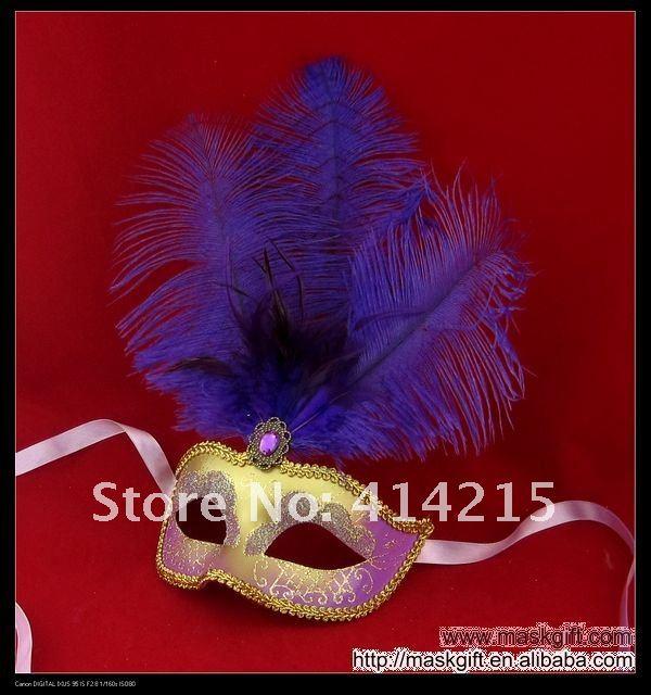 13 дюймов красивый фиолетовый и золотой Пластик венецианские маски, Mardi Gras маски, карнавальные маски(A009