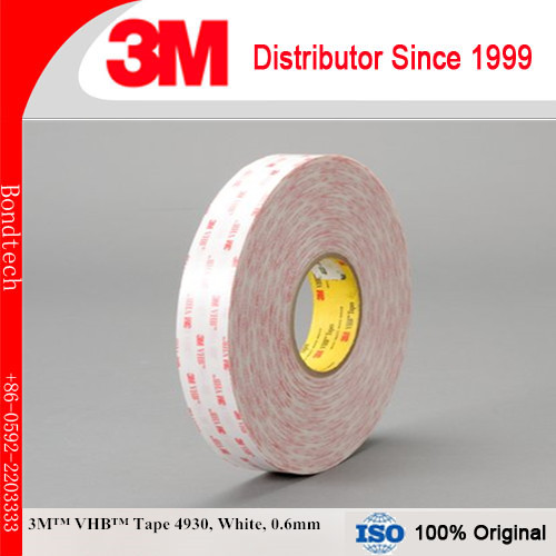3M 4930 VHB Double Sided Tape White, 1 in x 36 yd , 0.6mm (Pack of 1) 3m acrylic tape vhb 4991adhesive double sided tape outstanding durability performance 0 5 in 18yd 5rolls we can offer other size