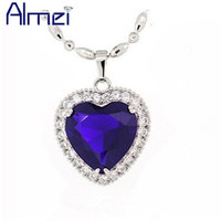 Fashion Classic Titanic Heart Of Ocean Blue Necklaces For Women Simulated Sapphire Diamond Charm Jewelry Colares