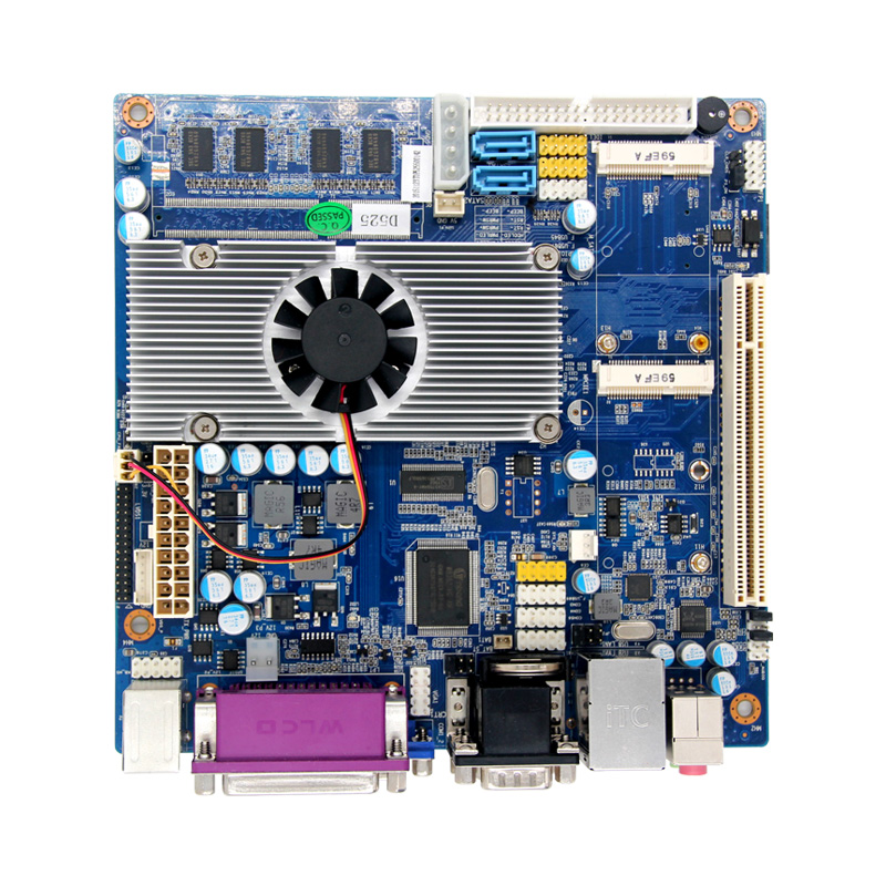 Mini ITX Atom D525 Industrial Motherboard with SIM Slot ultra thin pc d525 motherboard fanless mini itx motherboard with onboard ddr3 2gb ram