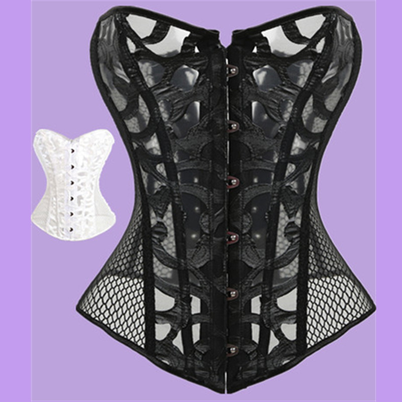Sexy Mesh   Corsets   and Bustie Elastic Net Hollow Out Flowers Design Busk Closure   Bustier     Corset   Body Shapewear cincher corselet
