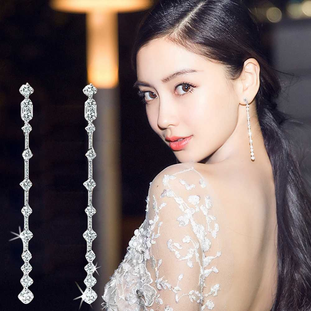 Luxury Bling CZ Zirconia Stone Long Earrings Dangle Women Cubic Zircon Crystal Gold/Silver Color Jewelry