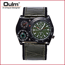 mens black and white watch oulm brand quartz wristwatch one time zone with wide leatheroid belt