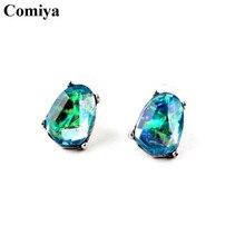 Comiya designer marque vert mosaïque de cristal boucles d'oreilles pour les femmes cc boucle d'oreille femme déclaration accessoires boucle d'oreille(China (Mainland))