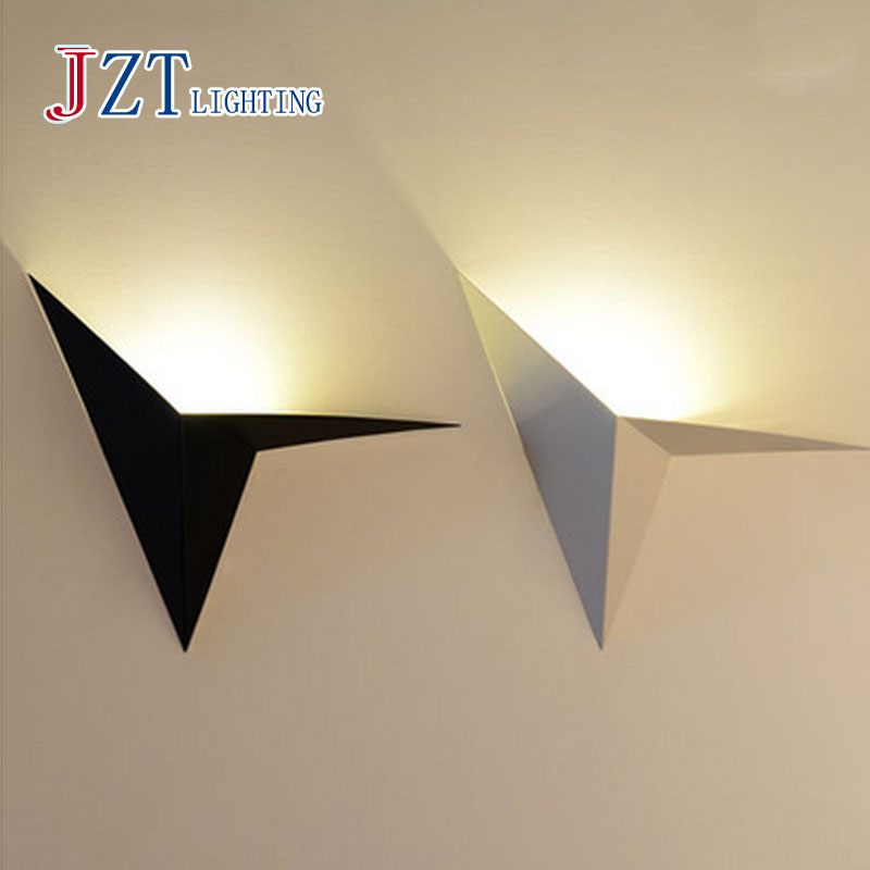 T Simple 5W With LED bulb indoor lights wall mounted Metal Black&White wall lamps Creative Modern porch lights for corridor the ivory white european super suction wall mounted gate unique smoke door