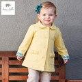 DB3234 davebella primavera outono novo bebê meninas amarelo casaco casaco de roupas infantis toddle meninas outerwear crianças outerwear
