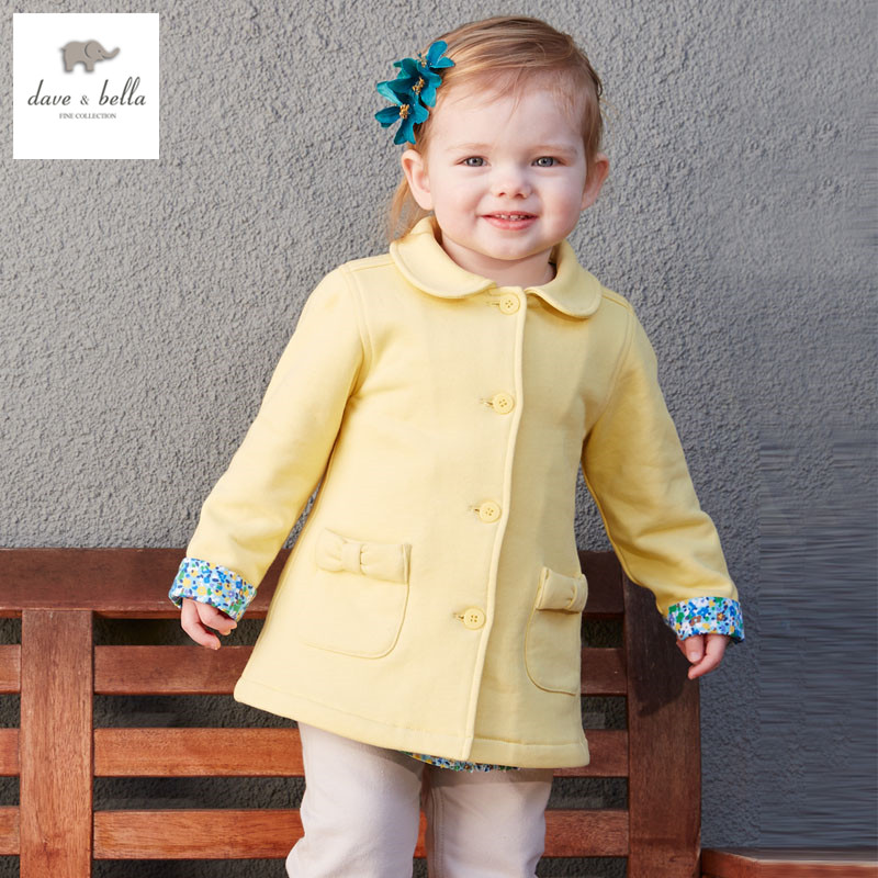 DB3234 davebella spring autumn new baby girls yellow coat infant clothes toddle coat girls outerwear children outerwear