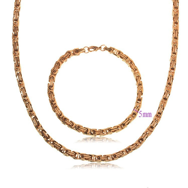 Gold-Color Classic Men's Costume Jewelry Sets Party Necklace Bracelet Jewellery Free shipping #SW-52
