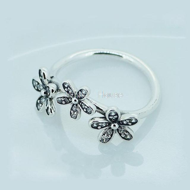 55efbb94b Triple Dazzling Daisy Ring fit Pandora Jewelry Hight Quality Europe style  Size #6-9, 925 Sterling Silver Women Ring