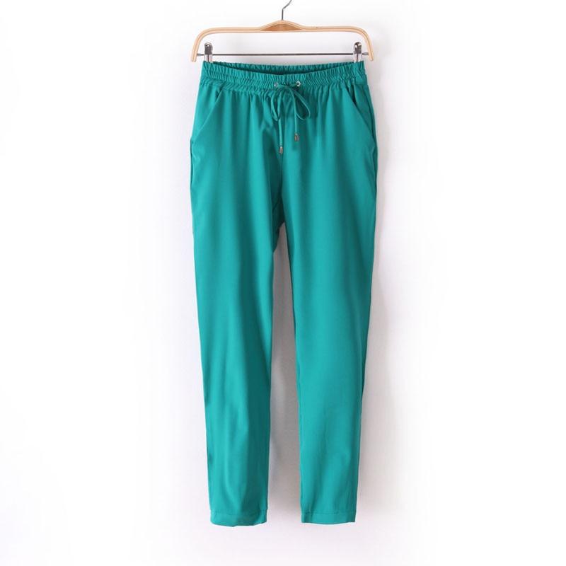 Chiffon Elastic Waist Solid Color Office Pants 10