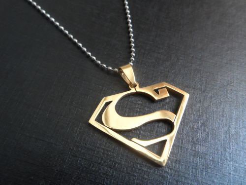 Gold superman charms stainless steel pendant necklace w chain icp gold superman charms stainless steel pendant necklace w chain icp insane clown posse twiztid mozeypictures Gallery