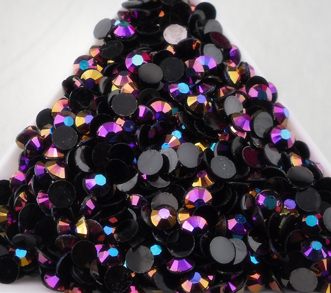 SS20 Желе Черный цвет интриги AB 5 мм многогранные накладки на ногти стразы с плоской обратной поверхностью мобильный для маникюра ногтей