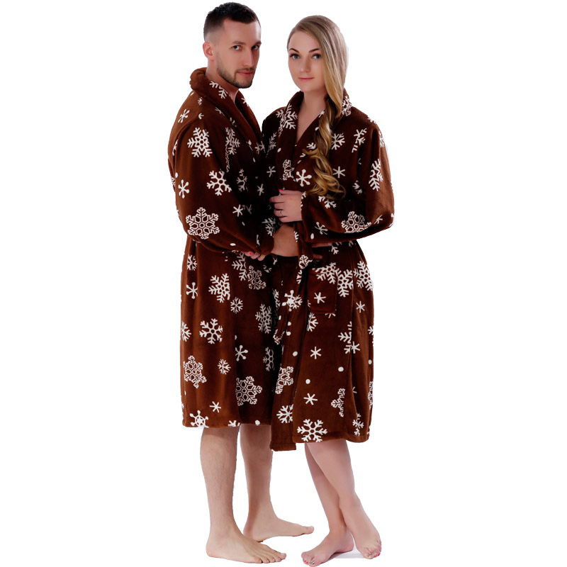 Adult Soft Coral Fleece Warm Winter Bathrobe Printed Snow Brown Plus Size Couple Dressing Gown Sleepwear Robe For Men Women