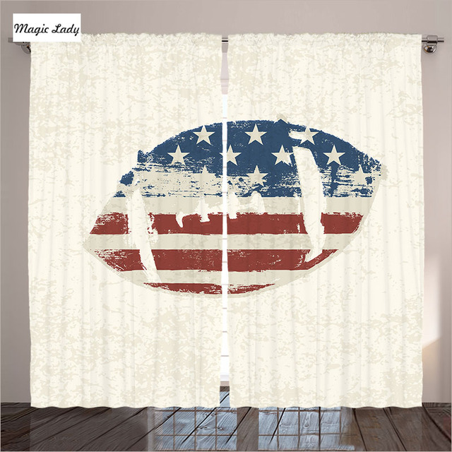 white curtains living room bedroom grunge american flag stitched