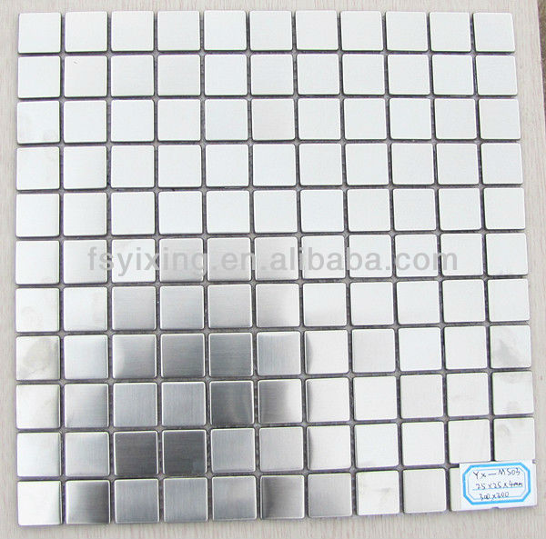 brush finished silver metal mosaic tile for wall or floor decor