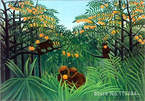 Monkeys In The Jungle Henri Rousseau Paintings Living Room Decor Handmade High Quality Home Decor