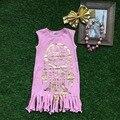 2016 meninas de verão vestido meninas vestido boutique crianças borla rosa do vestido do bebê meninas vestido sem mangas com colar combinando
