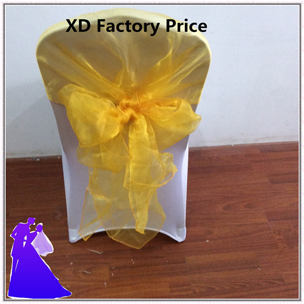 Marious Brand Wholesale cheap yellow wedding organza chair hood from China free shipping