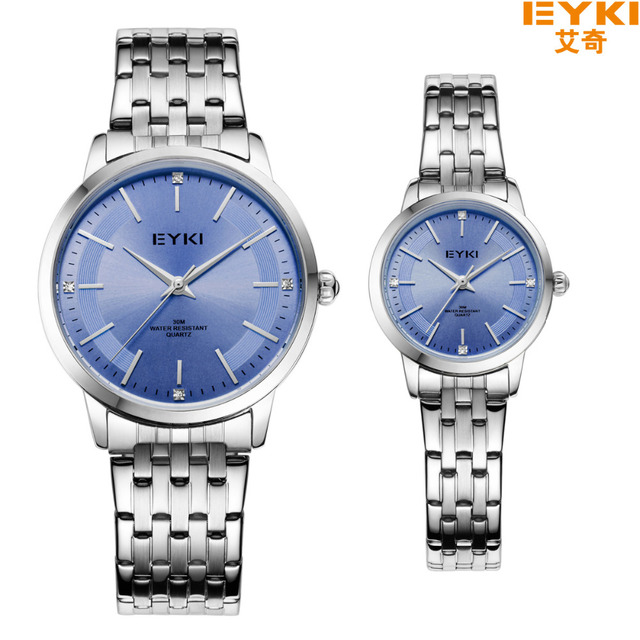 Hot Sale Eyki Brand Life Waterproof Couple Tables Luxury Inlaid Rhinestone Dress Watches Stainless Steel Men Women Quartz Watch