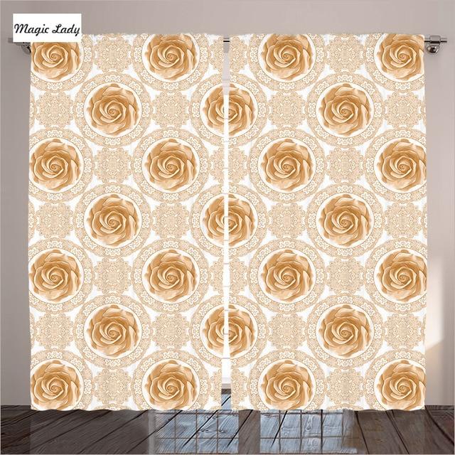 beige rideaux salon chambre vintage rose motif baroque royal cercle orn art dor blanc - Chambre Vintage Rose